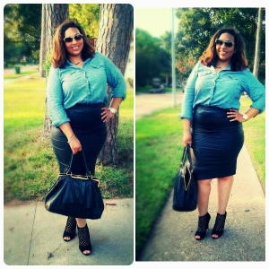 Denim Shirt (The Gap), Skirt (Fashion to Figure),Purse (BCBG), Shoes (Christian Siriano Payless)