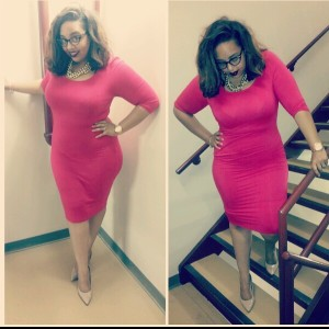 """Ok so can we say I ABSOLUTELY love this bodycon dress from Gstagelove.com. The material is very comfy and I love, love, love.... the length of this dress. On me it comes alittle below the knee, but I am pretty tall (5""""11"""") so I would say for most girls it would probadly hit right at the calf muscle. Again this is another outfit perfect for work or play. It could be dress up with some cute heels or dressed down with flip flops, or maybe even some cute tenny shoes (converse, vans ect). FYI the is dress also comes in blue."""